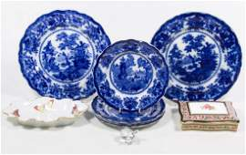 Limoges Flow Blue and Wedgwood Ceramic Assortment