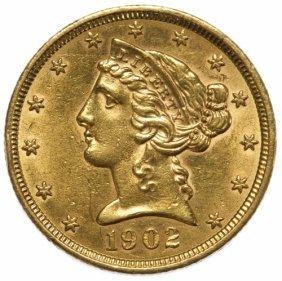 1902 $5 Gold Unc