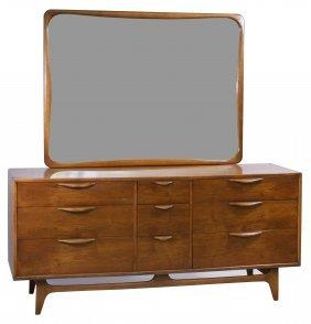 Mid-century Modern Mahogany Dresser With Mirror By Lane