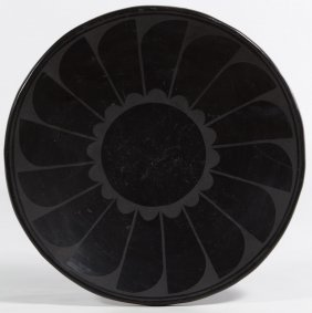 Blackware Pottery Feather Dish By Maria Martinez