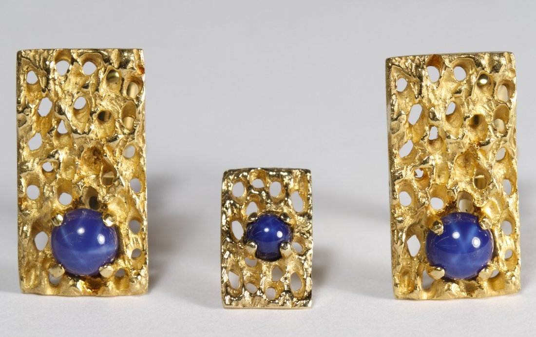 14k Gold and Star Sapphire Cuff Link and Tie Tack Set