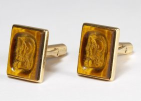 14k Gold And Tiger Eye Cufflinks