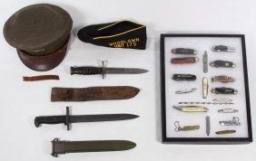 World War Ii Visor Cap, M1 Garand Bayonet And Us