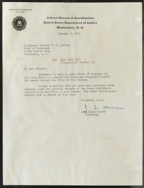 John Edgar Hoover Fbi Letter With Envelope