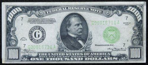1934 $1000 FRN VF Details