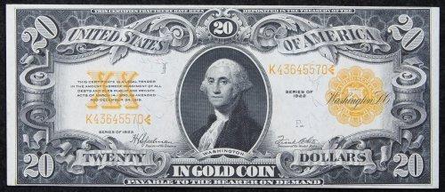 1922 $20 Gold Certificate XF+