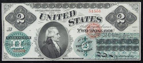 1862 $2 Legal Tender XF+