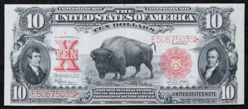 1901 $10 'Bison' Legal Tender XF+
