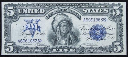 1899 $5 'Chief' Silver Certificate Unc.