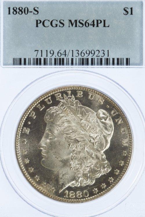 1880-S $1 MS-64 PL PCGS