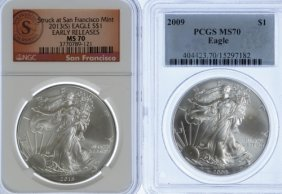 2009, 2013-s $1 Silver Eagle Ms-70 Pcgs / Ngc