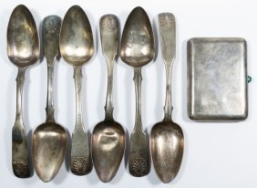 Russian Silver (.875) Serving Spoons And Cigarette Case