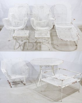 Painted Wire Garden Furniture (attributed To) Russell