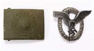 World War II German Badge and Buckle