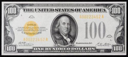 1928 $100 Gold Certificate Gem Unc.