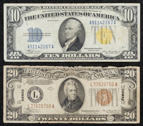 1934-A $20 Hawaii and 1934-A $10 North African