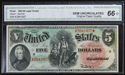 1869 $5 Legal Tender Gem Unc. 66 CGA