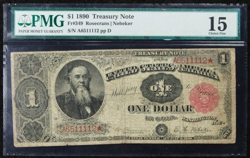 1890 $1 Treasury Note F-15 PMG