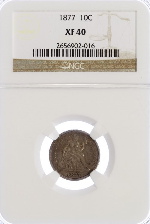 1877 10c XF-40 NGC