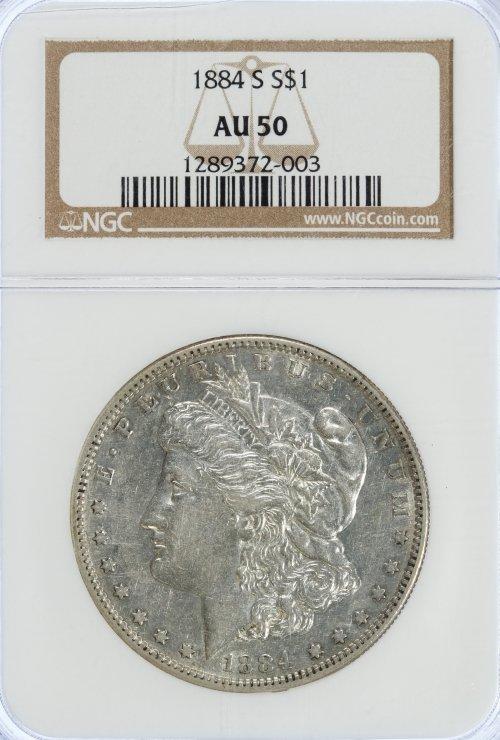 1884-S $1 AU-50 NGC