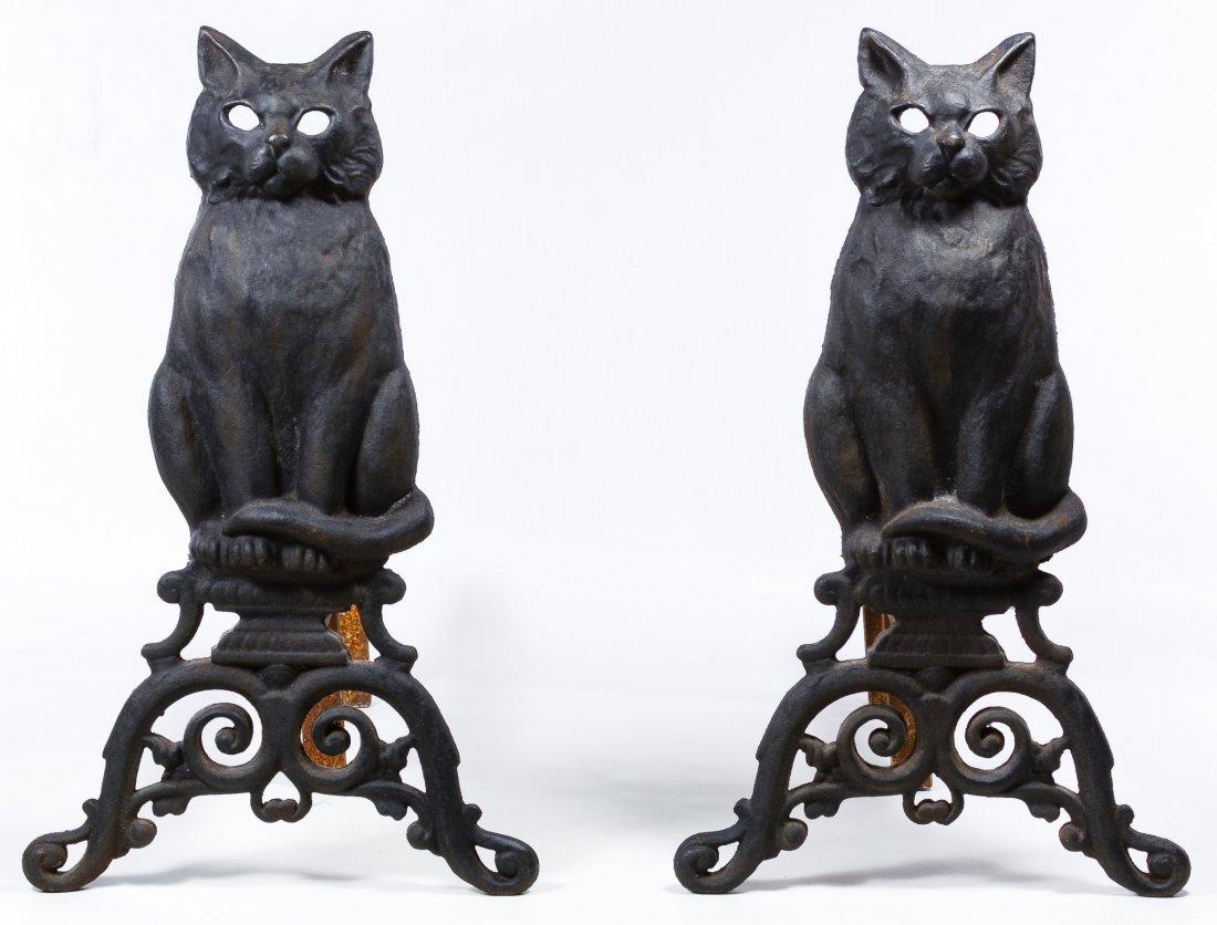 Cast Iron Figural Cat Andirons