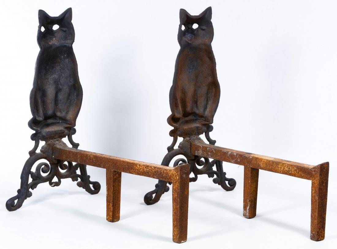 Cast Iron Figural Cat Andirons - 2