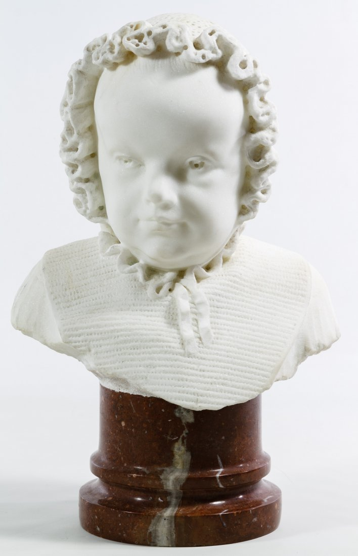 White Marble Child in Bonnet Bust