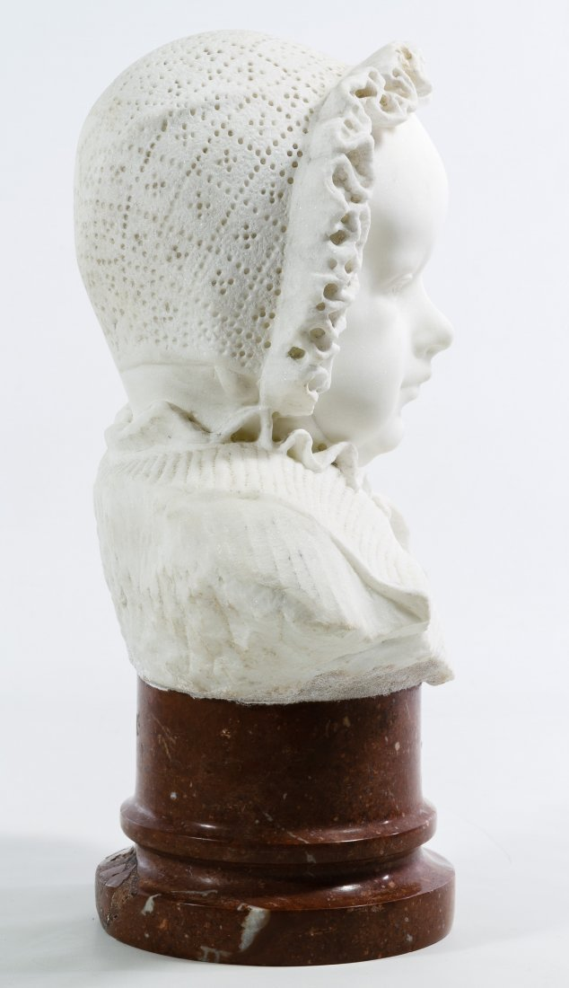 White Marble Child in Bonnet Bust - 2