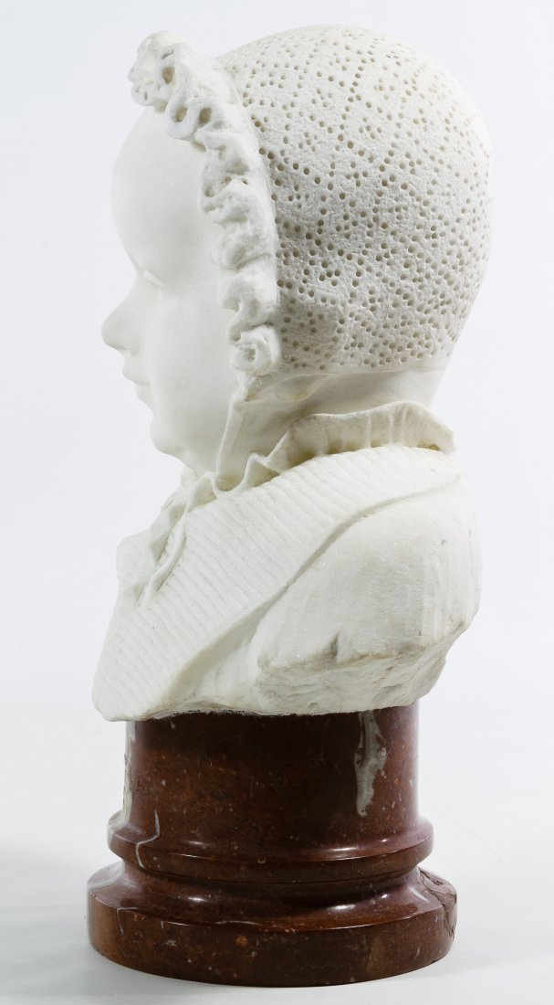 White Marble Child in Bonnet Bust - 4