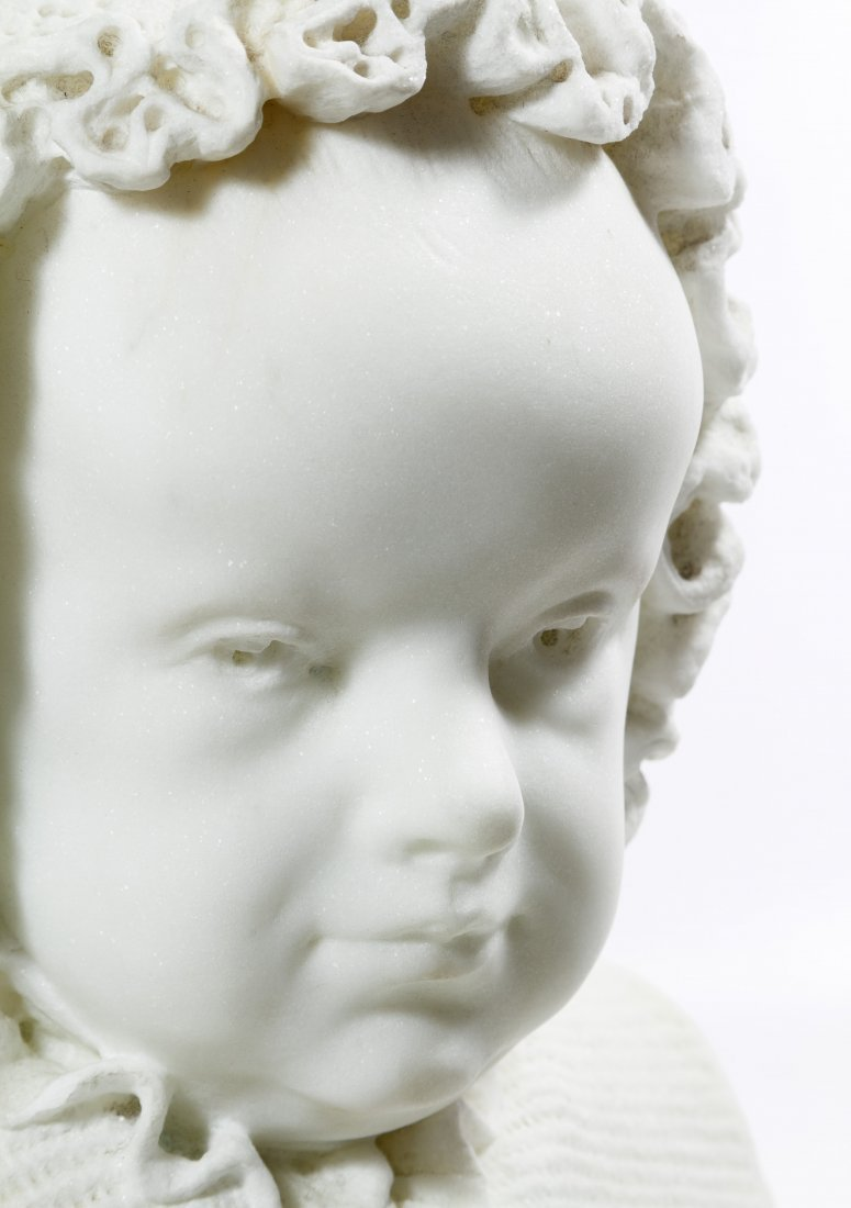 White Marble Child in Bonnet Bust - 5