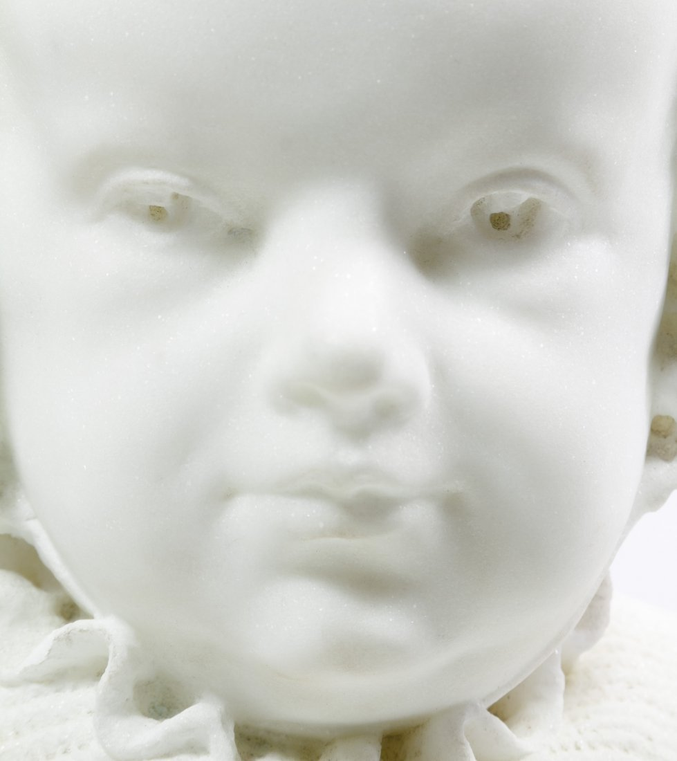 White Marble Child in Bonnet Bust - 7