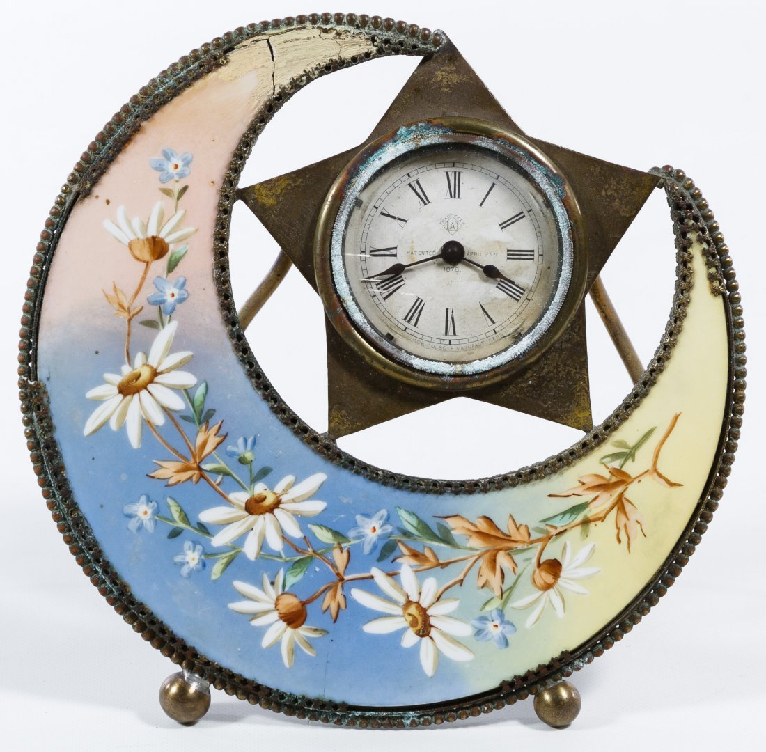 Porcelain Moon and Star Mantel Clock by The Clock Co.