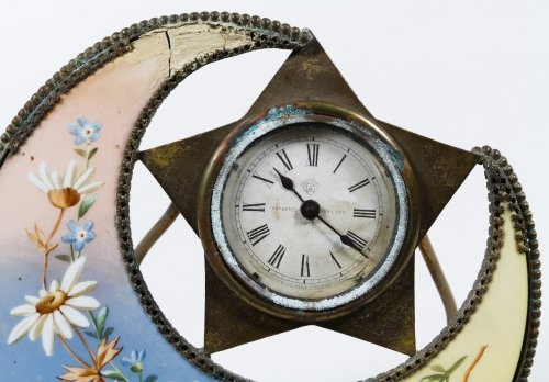Porcelain Moon and Star Mantel Clock by The Clock Co. - 3