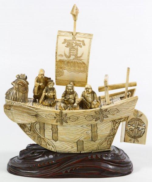Chinese Carved Bone Phoenix Boat