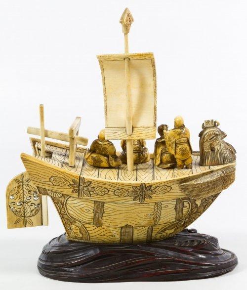 Chinese Carved Bone Phoenix Boat - 2