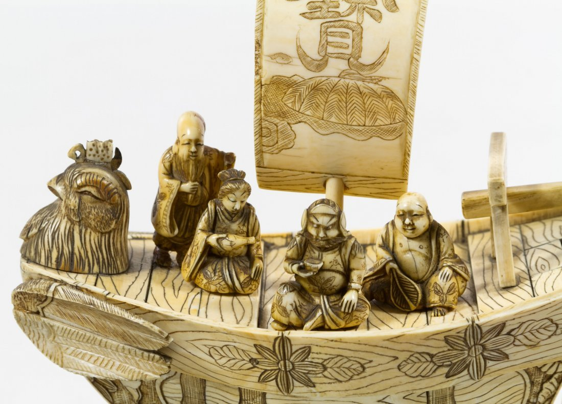 Chinese Carved Bone Phoenix Boat - 3