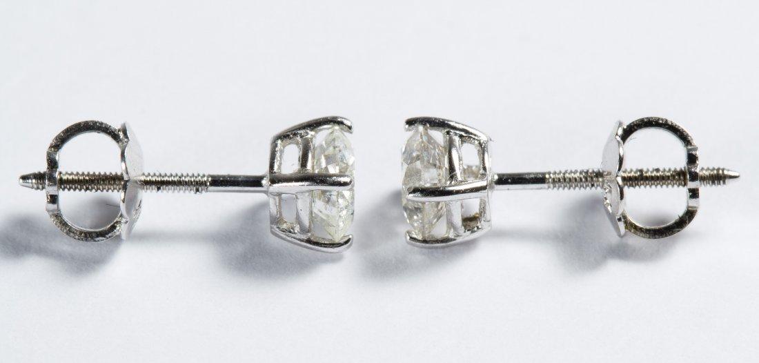 14k White Gold and Diamond Stud Earrings - 2