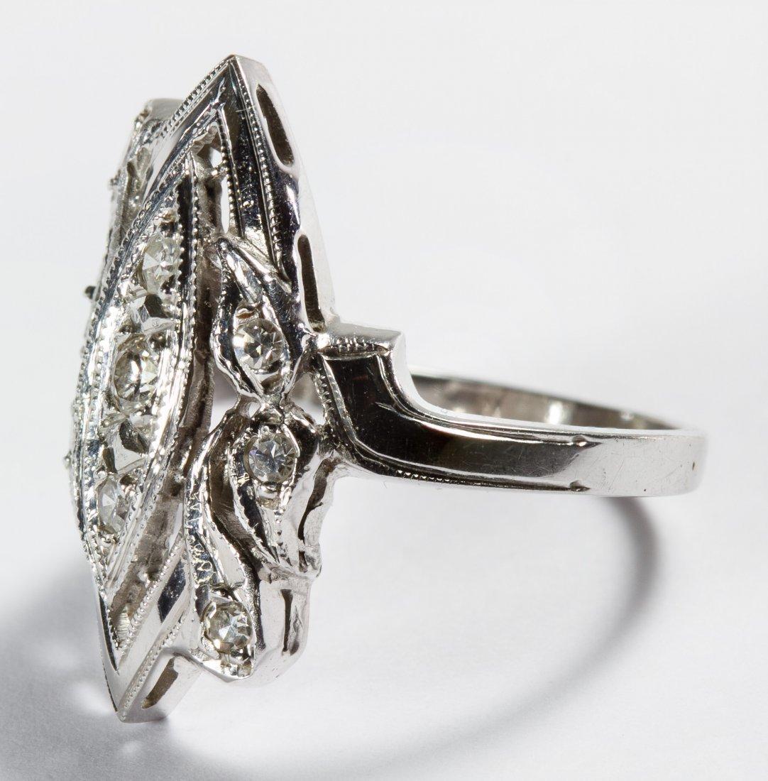 14k White Gold and Diamond Ring - 2