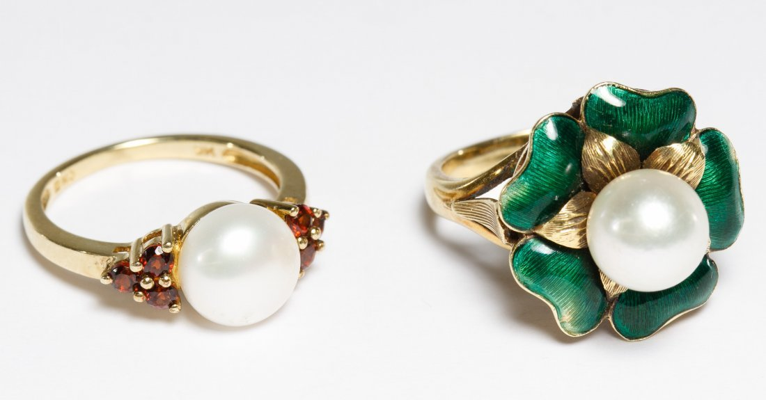 14k Gold and Cultured Pearl Rings