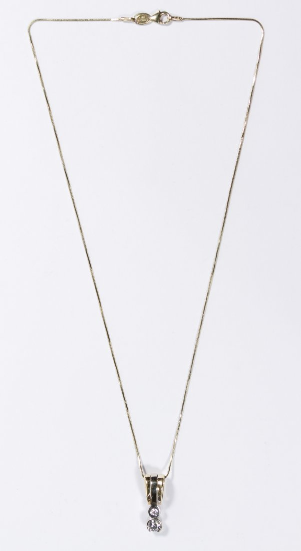 14k Gold and Diamond Pendant and Necklace - 2