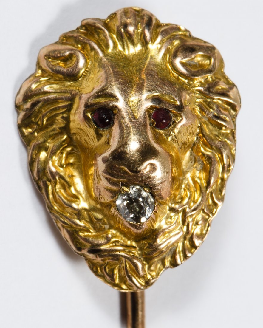 14k Gold and Diamond Lion Stick Pin - 2