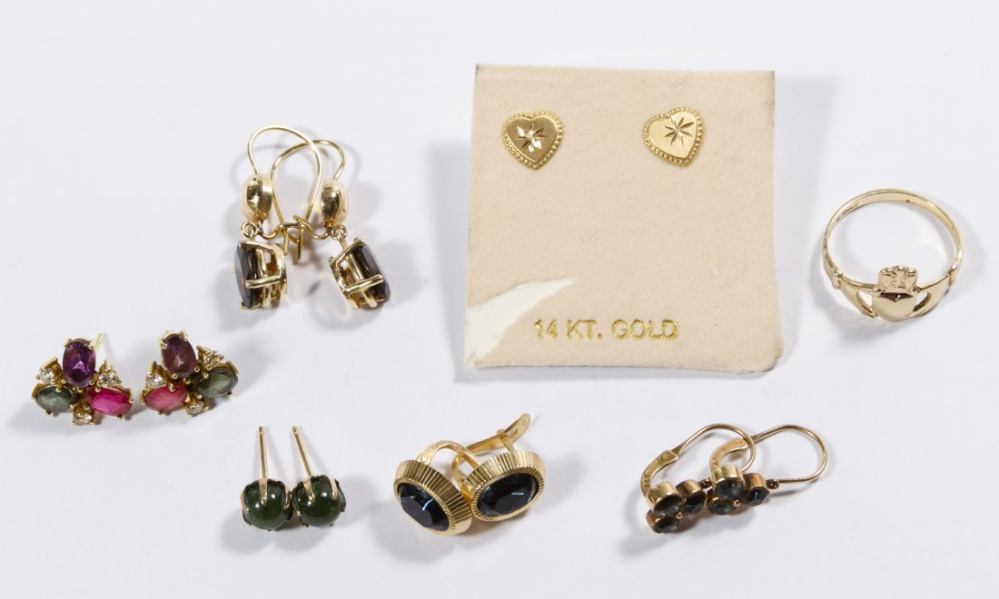 14k Gold Pierced Earrings Assortment