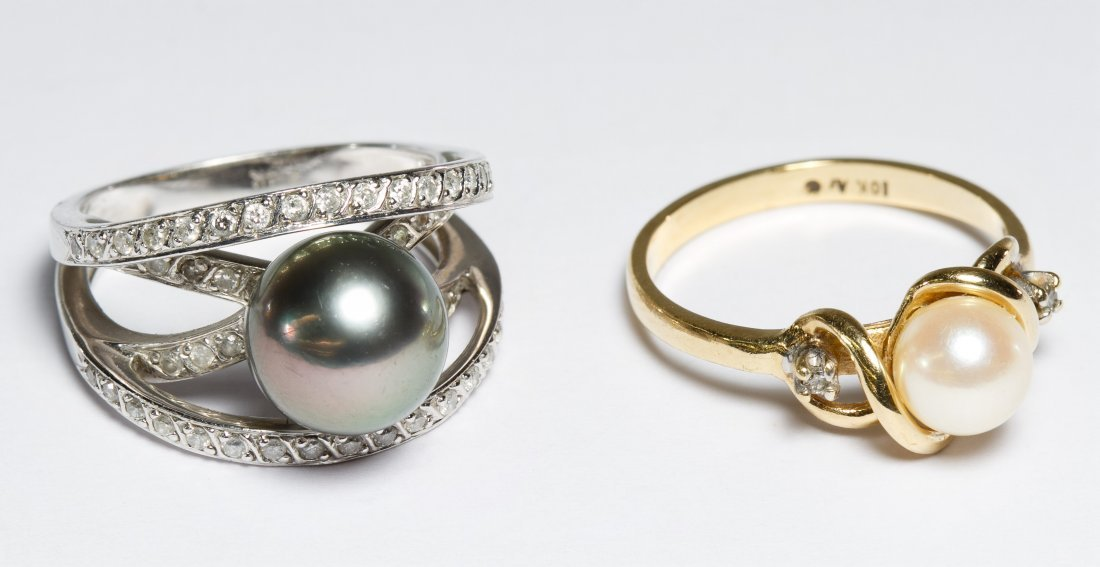 14k White Gold and 10k Gold and Pearl Rings