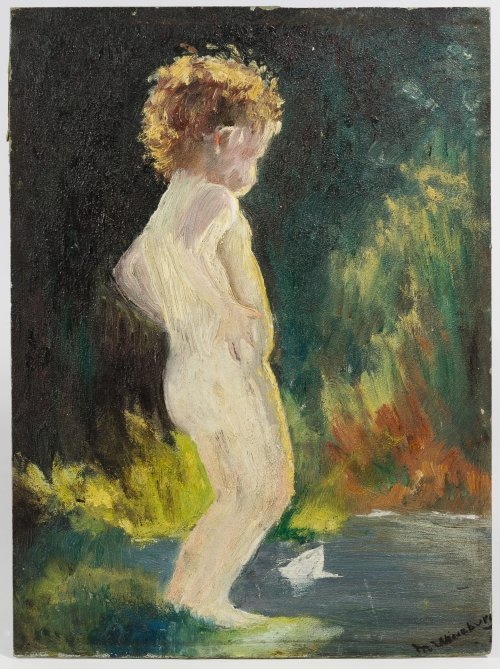 "M. Wineburg (American, 20th Century) ""Nude Child"" Oil - 2"