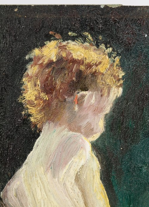 "M. Wineburg (American, 20th Century) ""Nude Child"" Oil - 3"