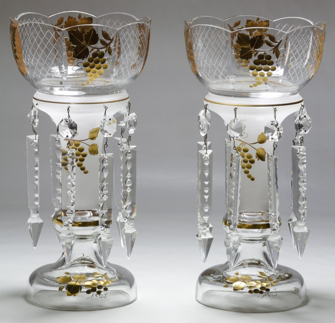 Gilt Glass Mantel Lusters