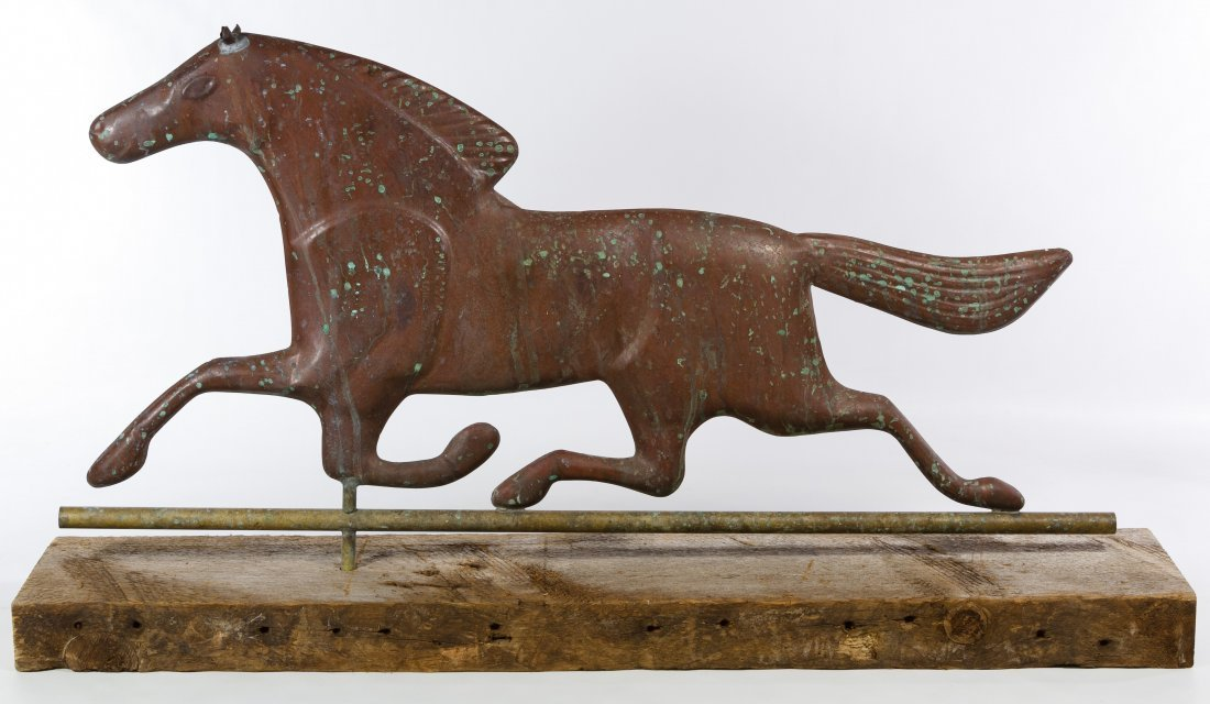 Copper Trotting Horse Weathervane Topper