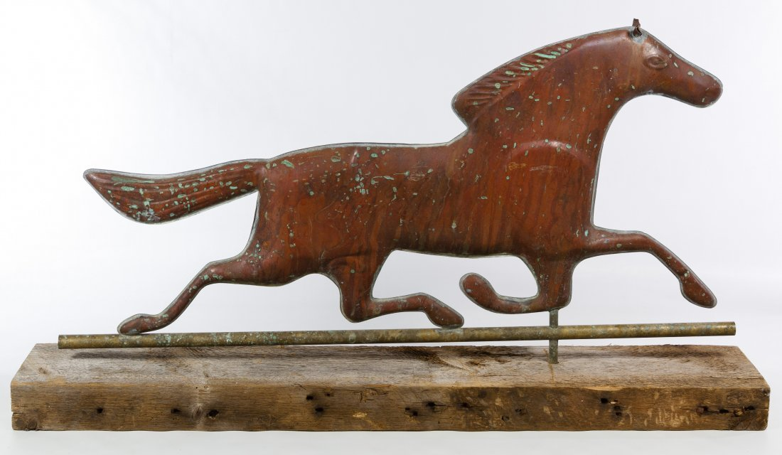 Copper Trotting Horse Weathervane Topper - 2