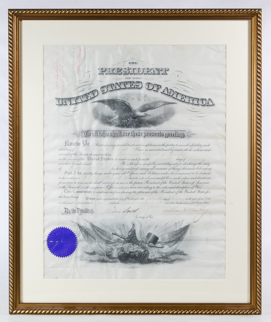 William McKinley Signed Presidential Military
