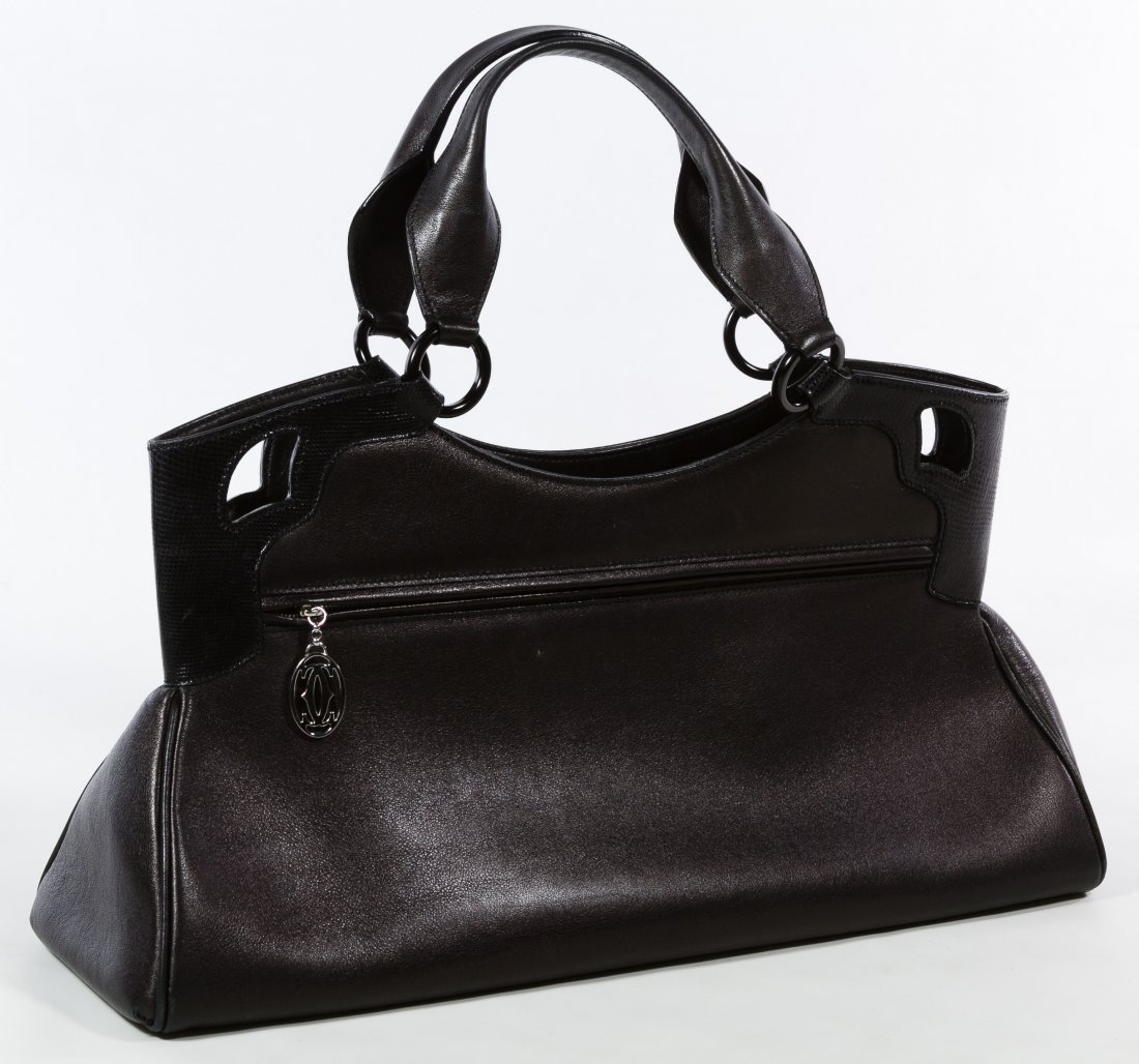 Cartier 'Marcello' Black Leather and Lizard Hand Bag